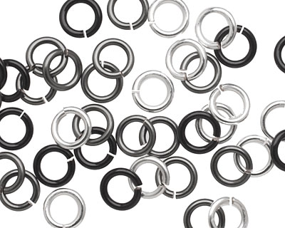 Shades of Grey Mix Enameled Copper Round Jump Ring 7mm, 16 gauge
