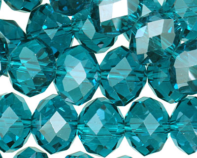 Teal Crystal Faceted Rondelle 14mm