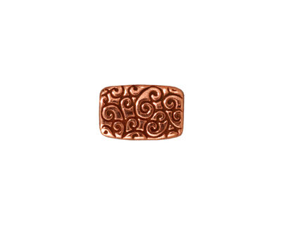 TierraCast Antique Copper (plated) Rectangle Scroll Bead 14x9mm