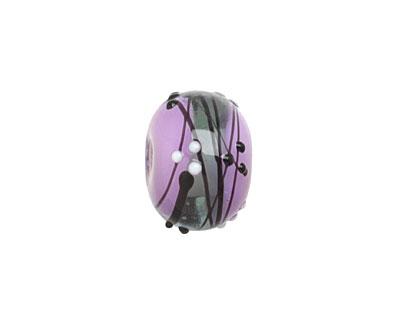 Grace Lampwork Lilac Tea Party Rondelle 10x16mm