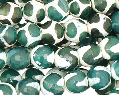 Green & White Wave Agate Faceted Round 10mm
