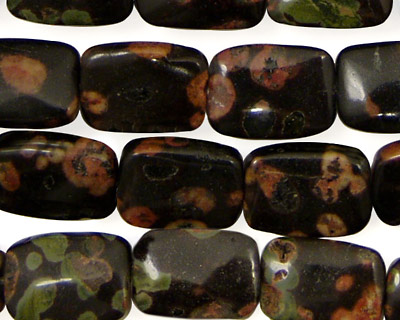Black Leopardskin Jasper Thin Pillow 14x10mm