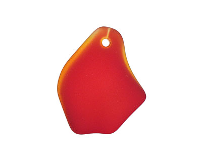 Cherry Red Recycled Glass Freeform Drop 16-23x25-30mm