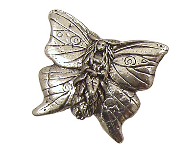Green Girl Pewter Butterfly Faery Bead 30x26mm
