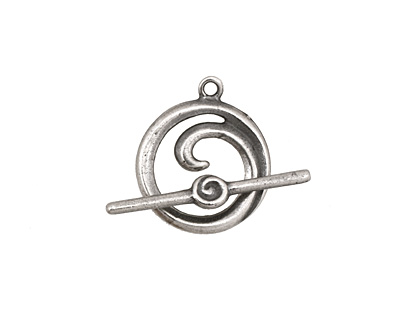 Antique Silver (plated) Simple Spiral Toggle Clasp 18x16mm, 24mm bar