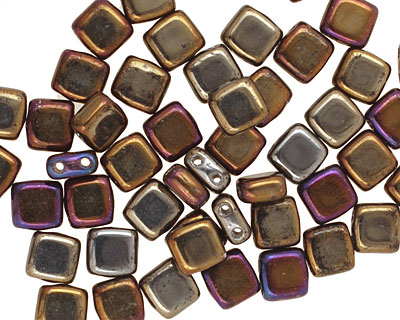 CzechMates Glass Iris Brown 2-Hole Tile 6mm