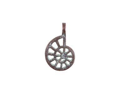 Greek Copper (plated) Patina Openwork Nautilus Charm 12x19mm