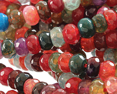 Bold Rainbow Fire Agate Faceted Rondelle 6mm
