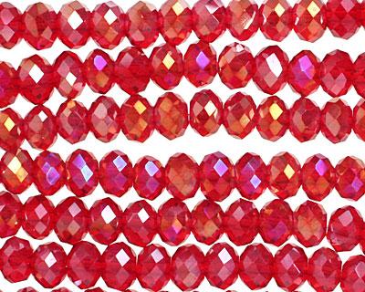 Garnet AB Crystal Faceted Rondelle 6mm