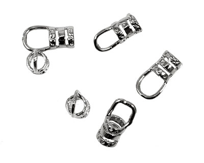 Silver (plated) Hook & Eye Crimp Clasp 16x5mm (hook), 13x5mm (eye)