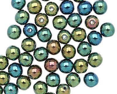 Czech Glass Iris Green Round 6mm