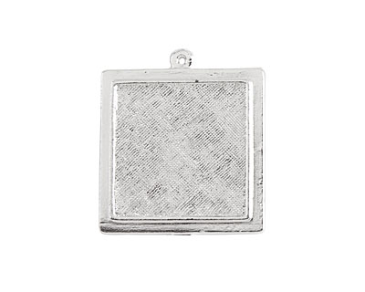 Nunn Design Sterling Silver (plated) Raised Square Pendant 30x33mm