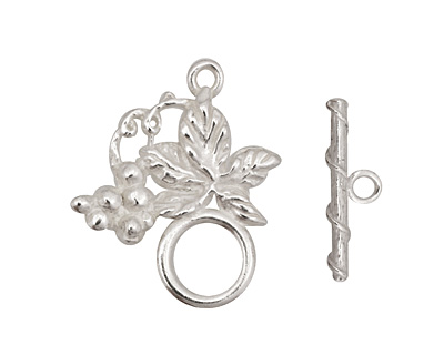 Silver (plated) Grape Vine Toggle Clasp 27x24mm, 20mm bar