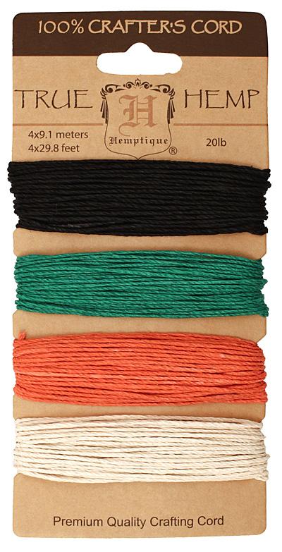 Primary Hemp Twine 20 lb, 29.8 ft x 4 colors