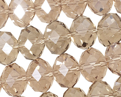 Khaki Crystal Faceted Rondelle 14mm
