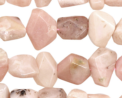 Pink Opal Faceted Nugget 11-15x10-16mm