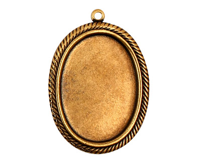 Stampt Antique Brass Herringbone Double Drop Oval Setting 18x25mm