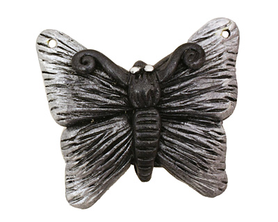 Poison Tree Polymer Clay Grey Butterfly 33-34x27-28mm