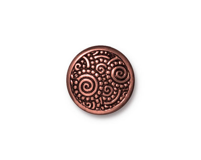 TierraCast Antique Copper (plated) Spirals Snap Cap 15mm
