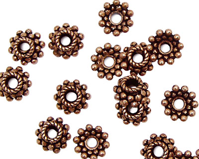 Antique Copper Bead Cap w/Scalloped Ring of Dots 8mm