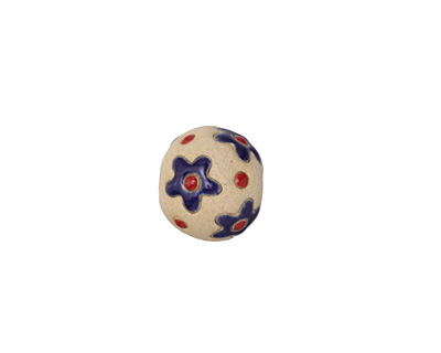 Golem Studio Dark Blue Flowers Carved Ceramic Round Bead 12x13-14mm