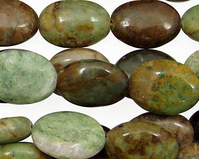 Petrified Green Opal Flat Oval 16x12mm
