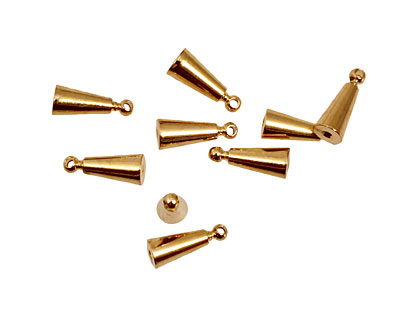 Memory Wire Gold (plated) Cone w/ Ring Endcap 9.5x4mm