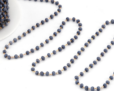 Denim (Matte) Crystal 3mm Delicate Brass Bead Chain