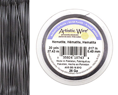 Artistic Wire Silver Plated Hematite 26 gauge, 30 yards