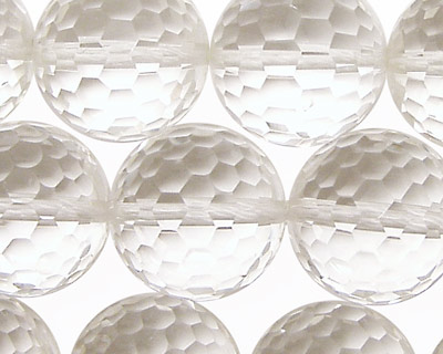 Rock Crystal Faceted Round 18mm