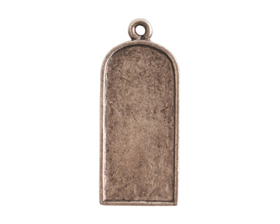 Nunn Design Antique Silver (plated) Ornate Flat Tablet Tag 13x30mm