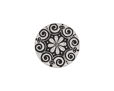 Lillypilly Black Scrolling Daisy Anodized Aluminum Disc 19mm, 22 gauge
