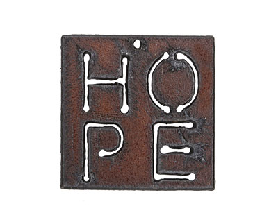 The Lipstick Ranch Rusted Iron Inspirational Hope Pendant 39mm