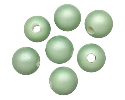 Mint (matte) Shell Pearl Round (large hole) 10mm