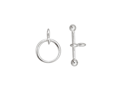 Silver (plated) Simple Toggle Clasp 14x10mm, 17mm bar