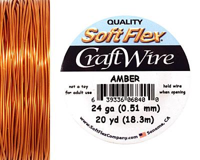 Soft Flex Amber Craft Wire 24 gauge, 20 yards