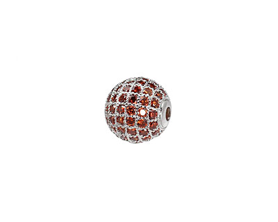 Silver (plated) & Hyacinth CZ Micro Pave Round 10mm