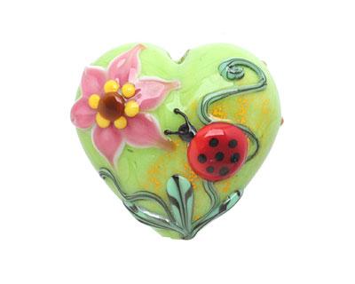 Grace Lampwork Ladybug on Spring Green Heart 24-26mm