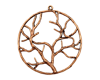 Ezel Findings Antique Copper Circle Tree Branch Pendant 38x42mm