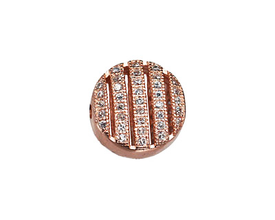 Rose Gold (plated) CZ Micro Pave Coin 11mm