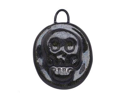 Gaea Ceramic Black Pearl Skull Coin Pendant 22-23x28-30mm