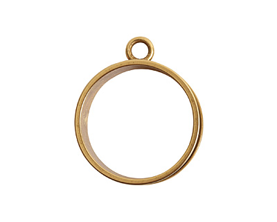 Nunn Design Antique Gold (plated) Open Large Circle Deep Channel Bezel 24x29mm