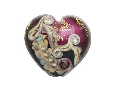 Grace Lampwork Amethyst Treasure Large Heart 24x26mm