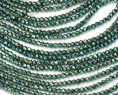 Green Hematite (plated) Faceted Round 2mm