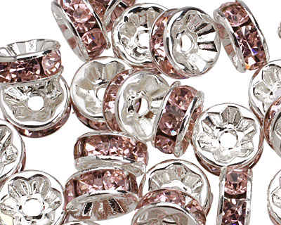Silver (plated) Light Rose Rhinestone Rondelle 8mm