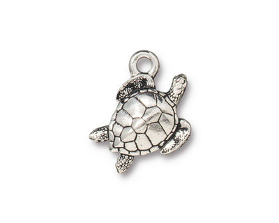 TierraCast Antique Silver (plated) Sea Turtle Charm 13x19mm