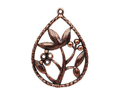 Ezel Findings Antique Copper (plated) Lotus Drop 22x31mm