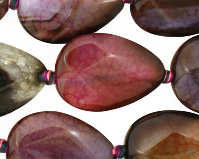 Rainbow Snakeskin Agate Faceted Flat Teardrop 25x18mm