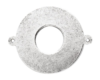 Nunn Design Antique Silver (plated) Flat Grande Circle Tag Toggle Link 38x30mm