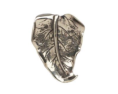 Saki White Bronze Wavy Leaf 31x44mm